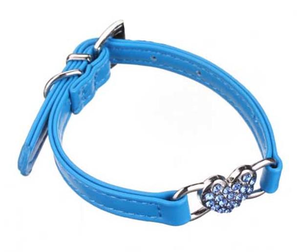 Blue Rhinestone Hearts Dog Collar