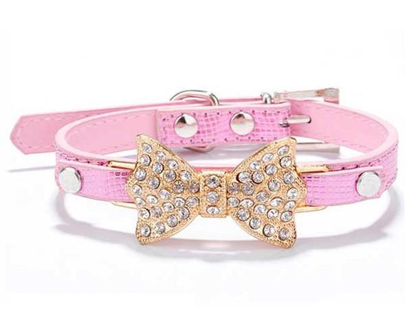 Pink Rhinestone Bow Dog Collar