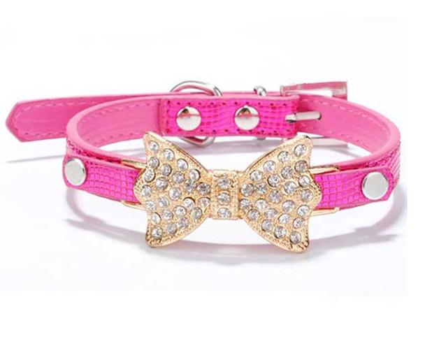 Magenta Rhinestone Bow Dog Collar