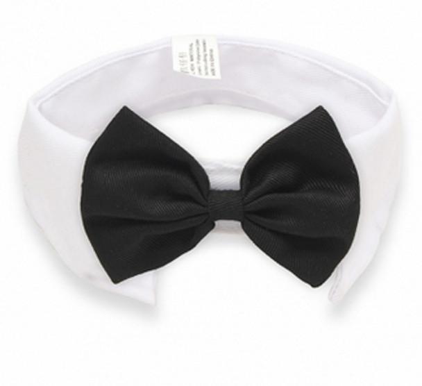 Black Bow Tie White Dog Collar