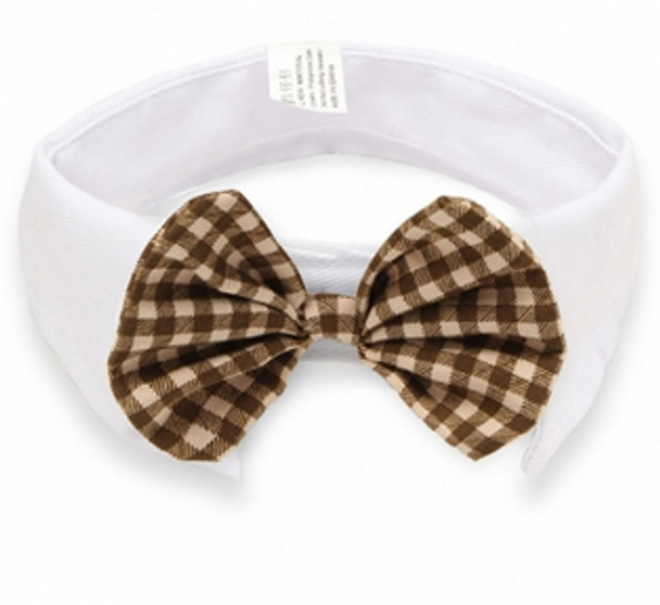 Brown Check Bow Tie White Dog Collar