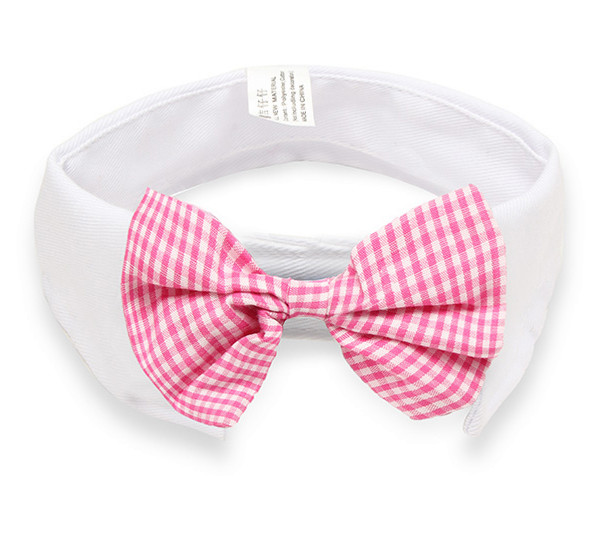 Pink Check Bow Tie White Dog Collar