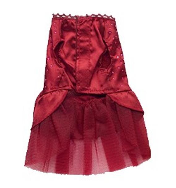 Dark Red Elegant Dog Wedding Dress