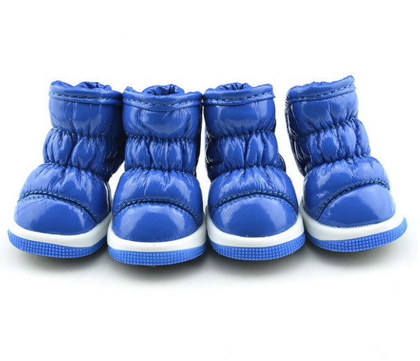 Blue Fleece Lined Dog Snow Boots