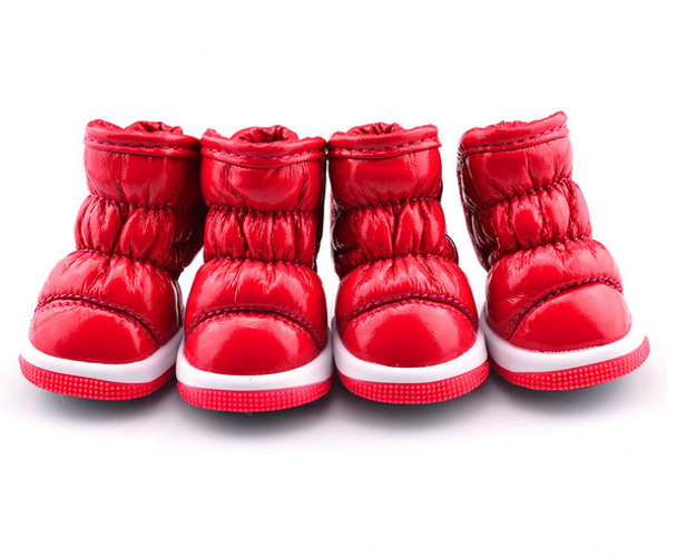 Red Fleece Lined Dog Snow Boots