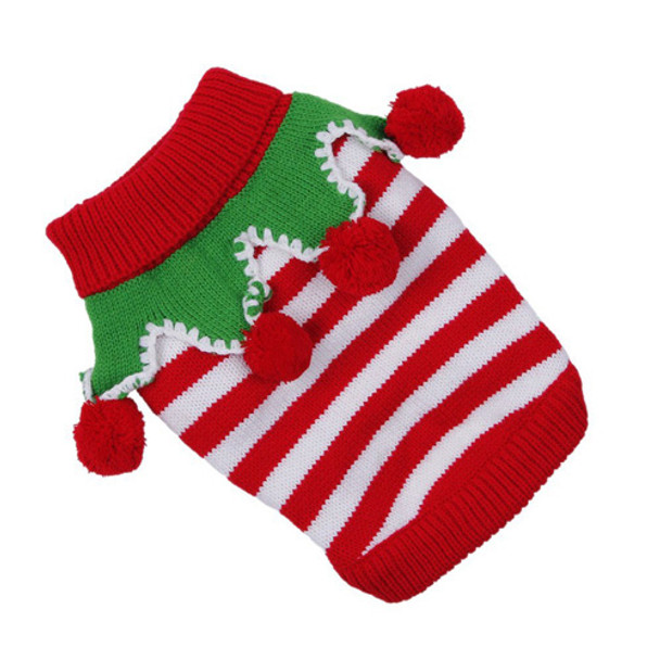 Red and White Stripe Knitted Christmas Elf Dog Jumper