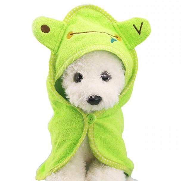 Green Frog Design Dog Bathrobe Towel