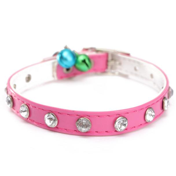 Pink PVC Rhinestones Bell Dog Collar