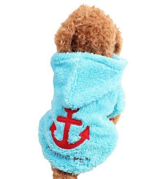 Blue Anchor Design Fleece Hooded Dog Jumper