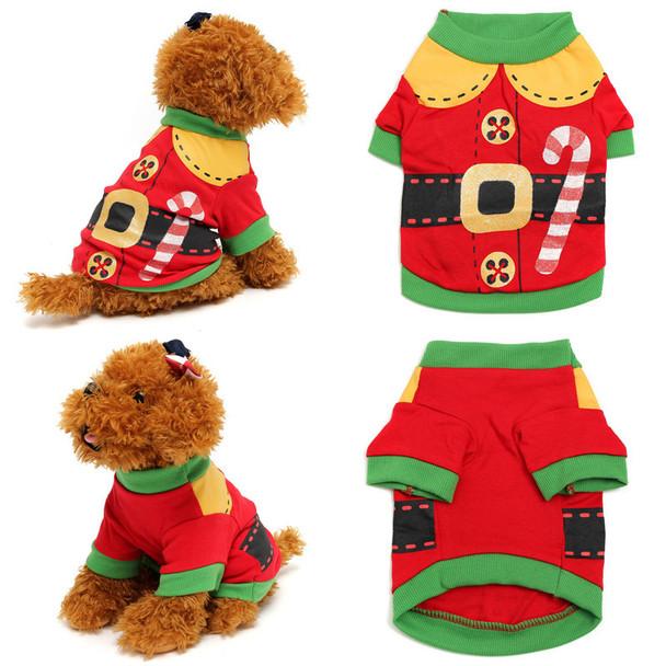Red Elf Christmas Dog T-Shirt