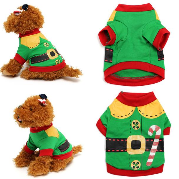 Green Elf Christmas Dog T-Shirt