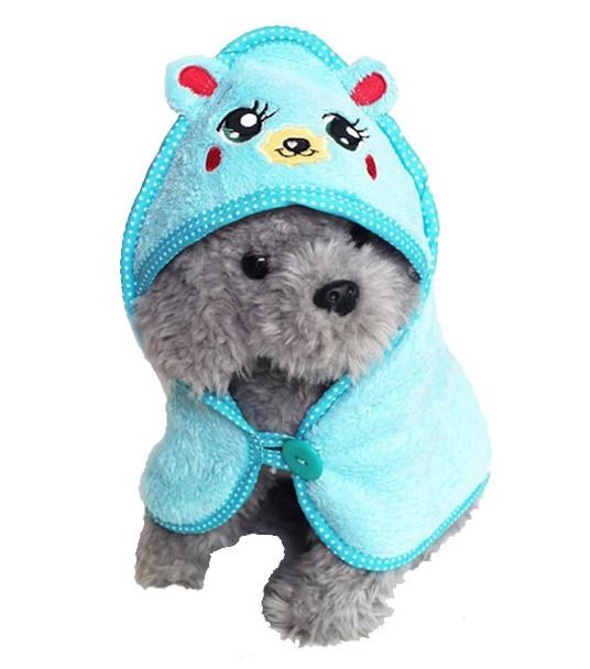 Blue Cute Animal Design Dog Bathrobe Towel
