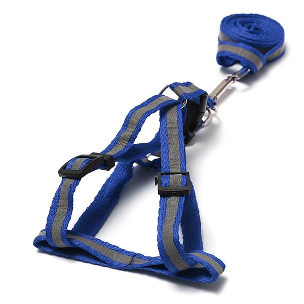 Blue Reflective Nylon Dog Harness & Lead Set