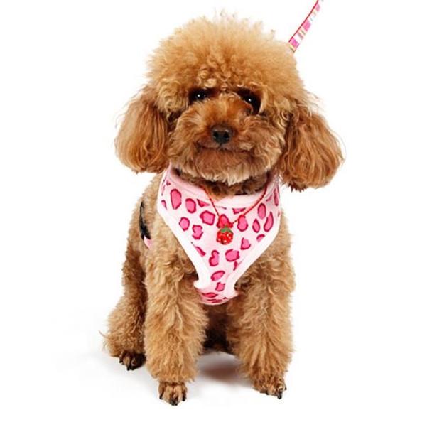 Pink Leopard Print Soft Fleece Dog Harness & Lead Set
