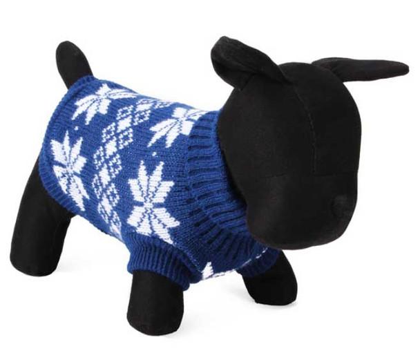 Blue Leaf Design Knitted Dog Jumper