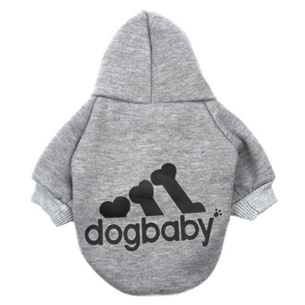 Grey Dogbaby Bone Design Dog Hoodie