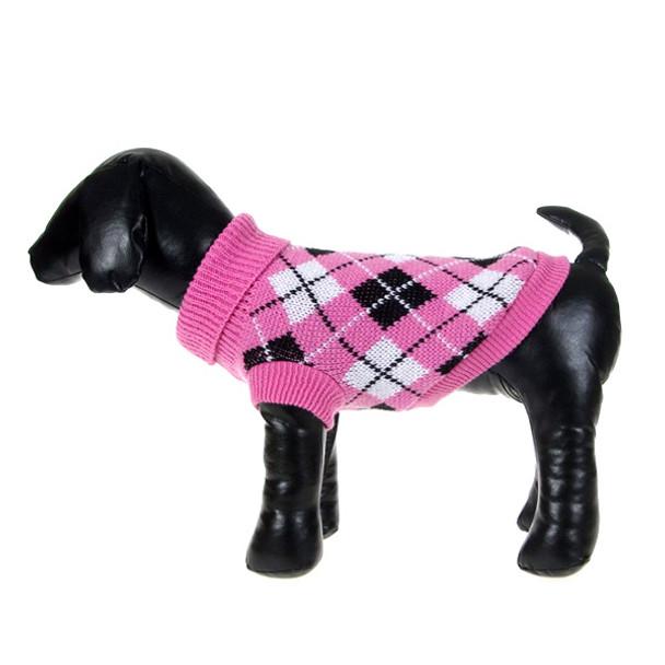 Dark Pink Check Knitted Dog Jumper