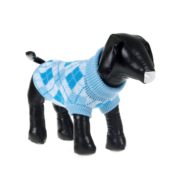 Light Blue Check Knitted Dog Jumper