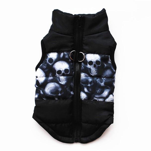 Black Skull Dog Puffer Vest Coat