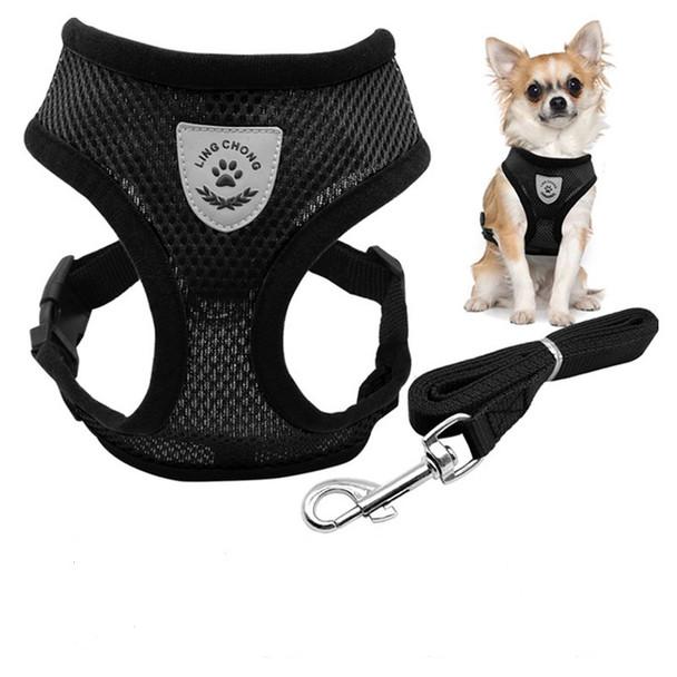 Black Nylon Dog Harness & Lead Set