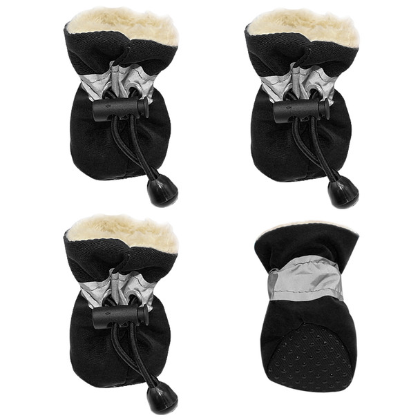 Black Fleece Lined Waterproof Dog Boots