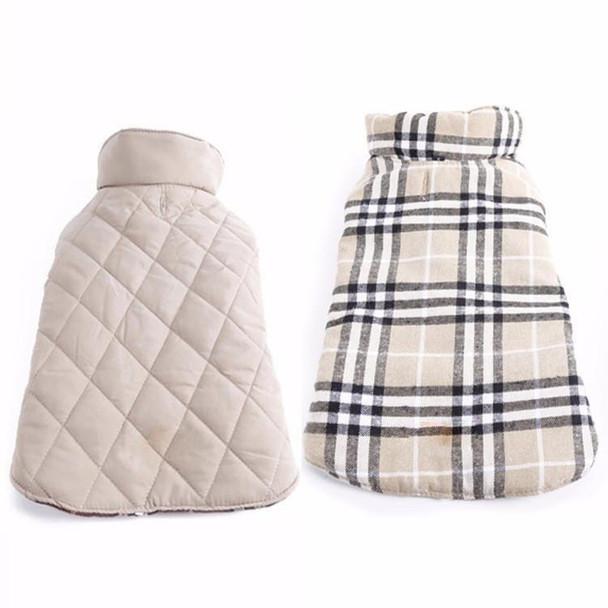 Beige Tartan Reversible Dog Coat