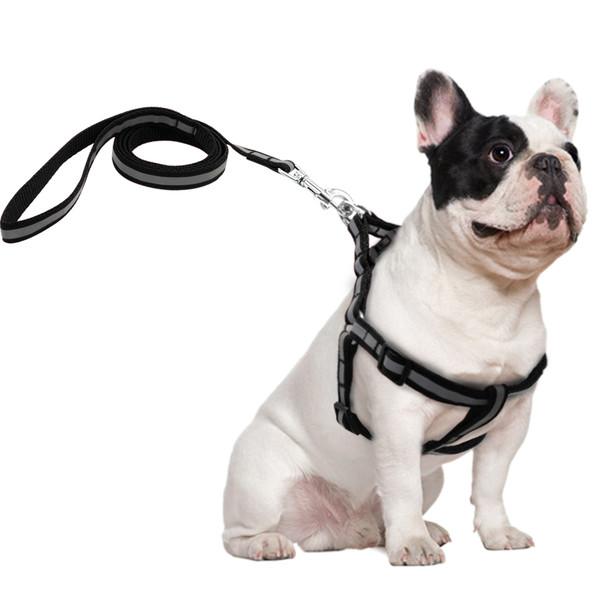 Reflective Black Dog Harness & Lead Set