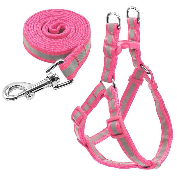 Reflective Pink Dog Harness & Lead Set