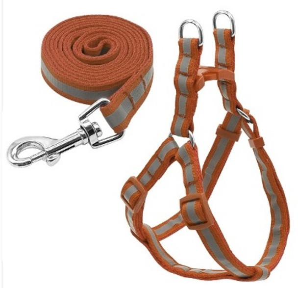 Reflective Brown Dog Harness & Lead Set