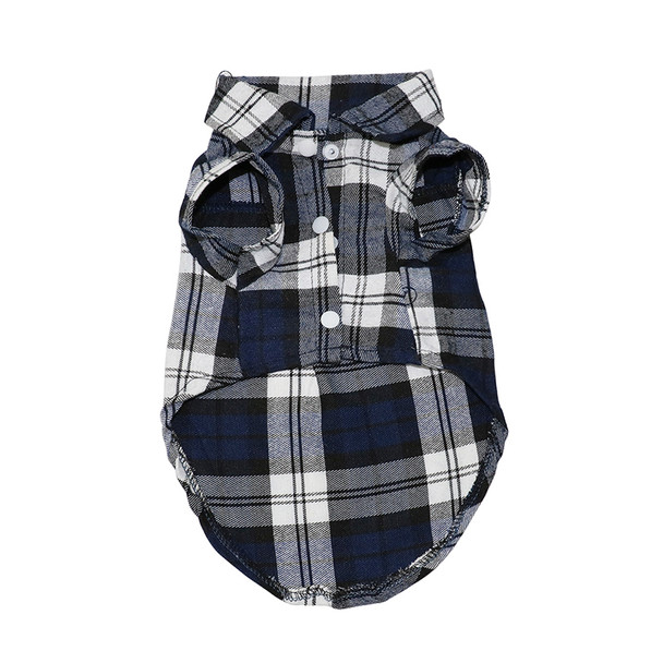 Blue Tartan Checked Dog Shirt