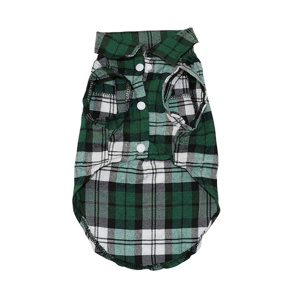 Green Tartan Checked Dog Shirt
