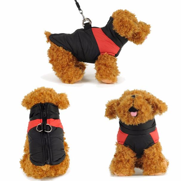 Black Red Padded Dog Vest Coat