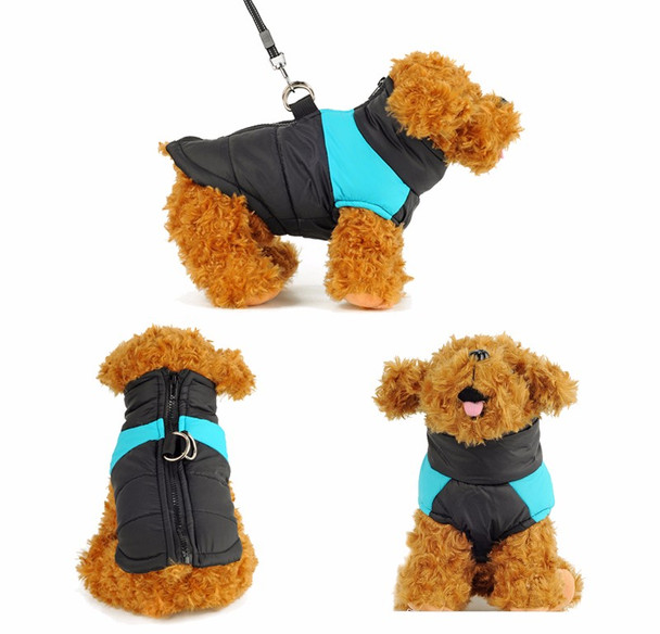 Black Blue Padded Dog Vest Coat