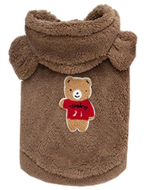 Brown Teddy Bear Fleece Dog Coat