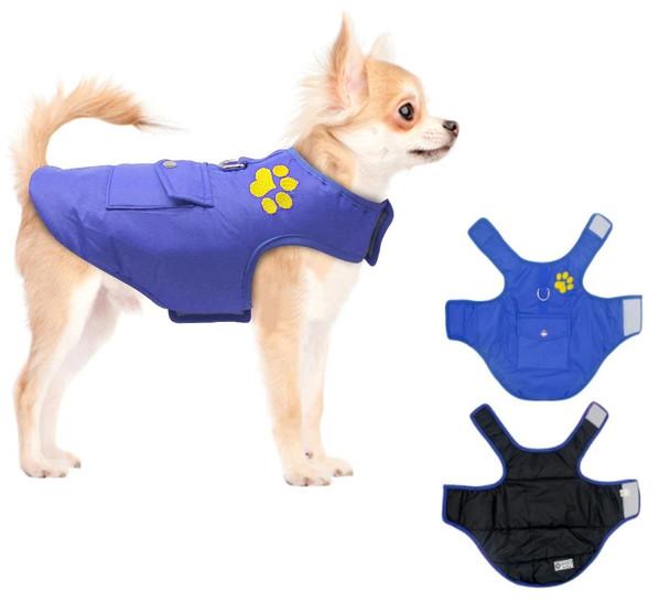 Blue Black Reversible Dog Vest Coat