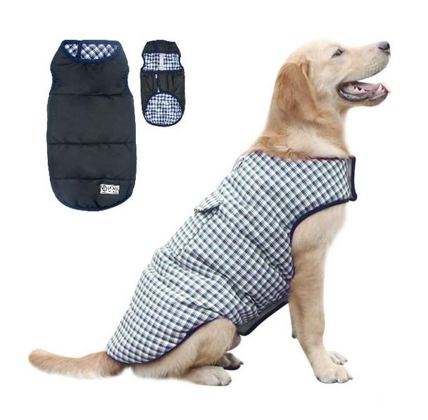 Blue Plaid Black Reversible Dog Vest Coat