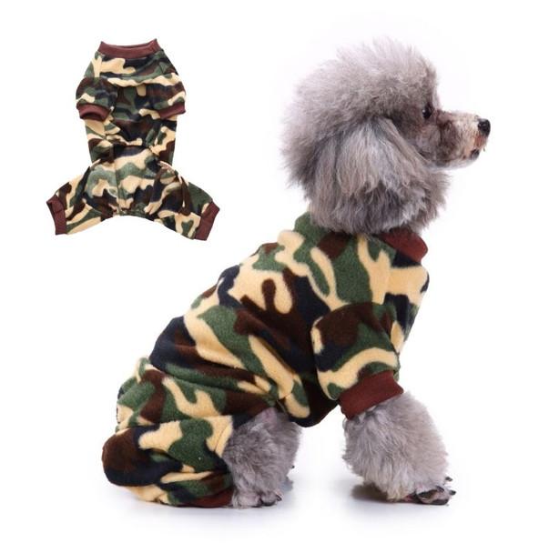Green Brown Camo Print Dog Fleece Onesie Pyjamas