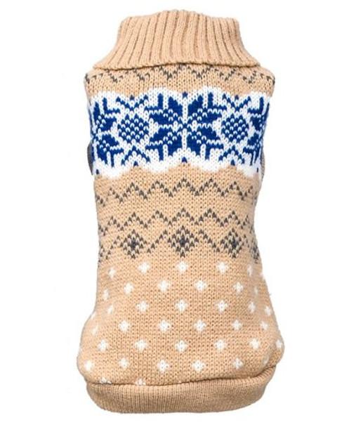 Beige Snowflake Knitted Dog Jumper
