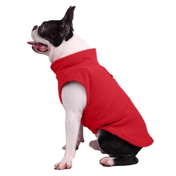 Red Plain Fleece Dog Coat