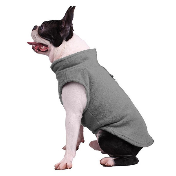 Grey Plain Fleece Dog Coat