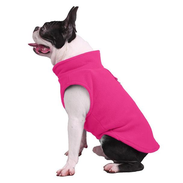 Pink Plain Fleece Dog Coat