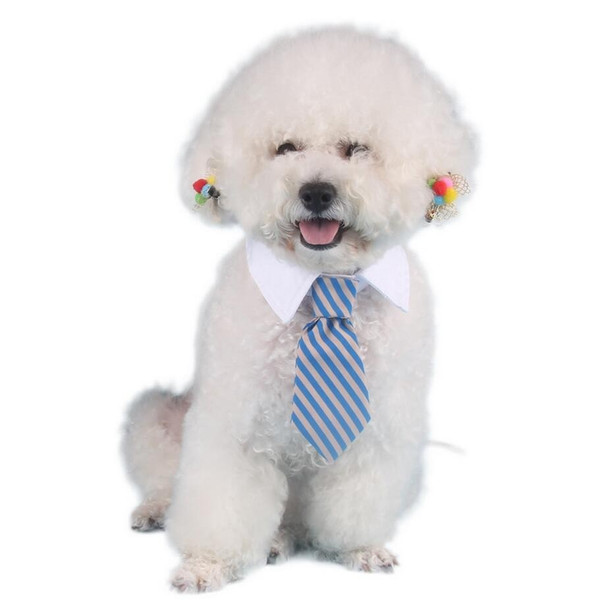 Blue Grey Striped Tie Dog Shirt Collar