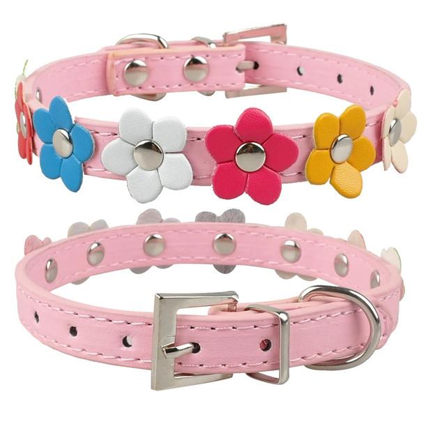 Pink PU Leather Flower Dog Collar