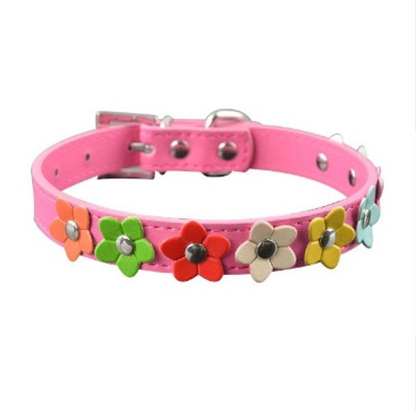 Rose PU Leather Flower Dog Collar