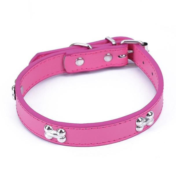 Pink PU Leather Bone Dog Collar