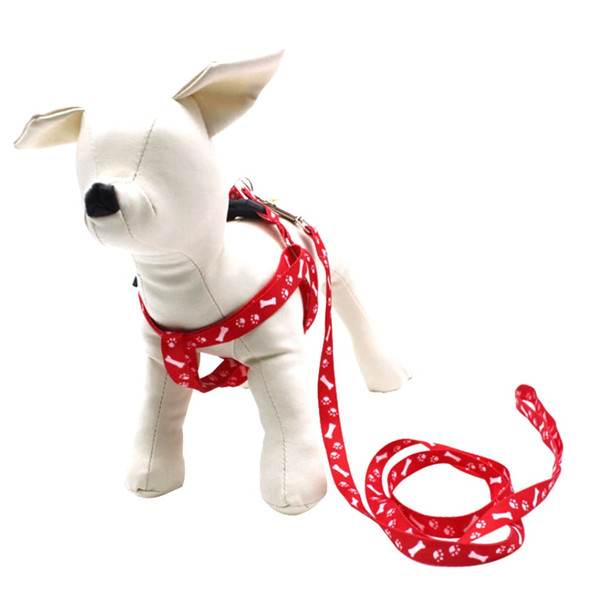 Red Pawprint Bone Nylon Dog Harness & Lead Set