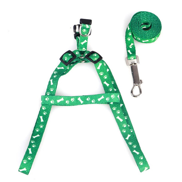 Green Pawprint Bone Nylon Dog Harness & Lead Set
