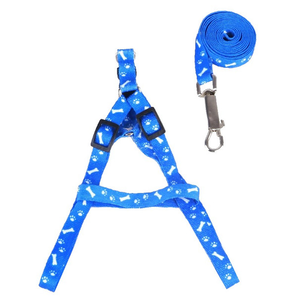 Dark Blue Pawprint Bone Nylon Dog Harness & Lead Set