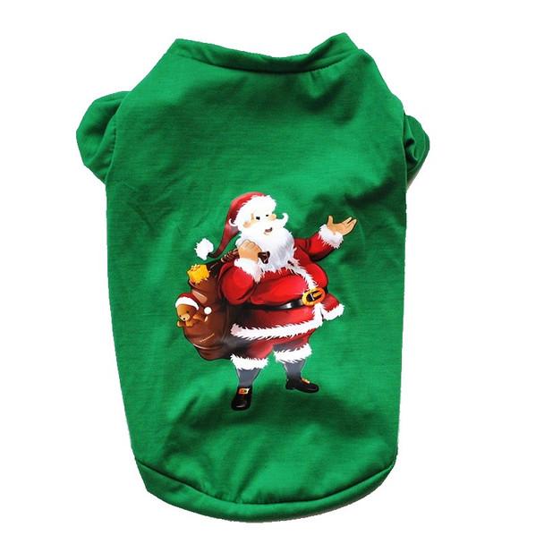 Green Santa Claus Christmas Dog T-Shirt
