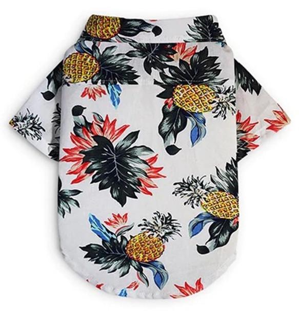 White Pineapple Dog Hawaiian Shirt